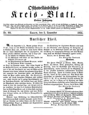Osthavelländisches Kreisblatt vom 05.11.1851