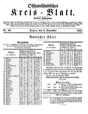 Osthavelländisches Kreisblatt vom 08.11.1851