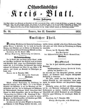 Osthavelländisches Kreisblatt vom 12.11.1851