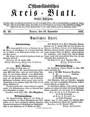 Osthavelländisches Kreisblatt vom 19.11.1851
