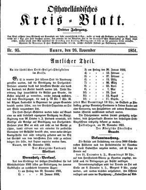 Osthavelländisches Kreisblatt vom 26.11.1851