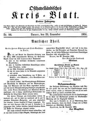 Osthavelländisches Kreisblatt vom 29.11.1851