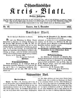 Osthavelländisches Kreisblatt vom 03.12.1851