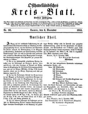 Osthavelländisches Kreisblatt vom 06.12.1851