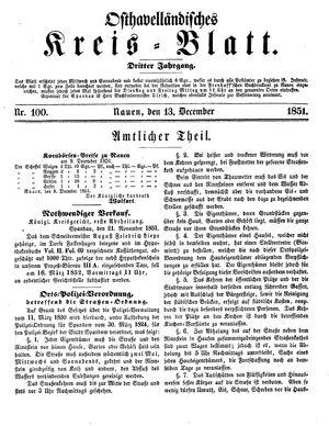 Osthavelländisches Kreisblatt vom 13.12.1851