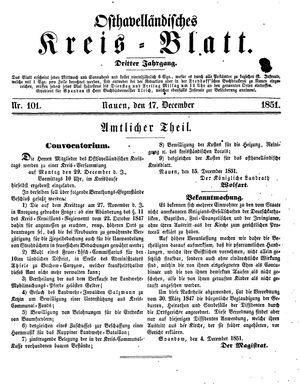 Osthavelländisches Kreisblatt vom 17.12.1851