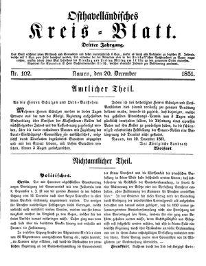 Osthavelländisches Kreisblatt vom 20.12.1851