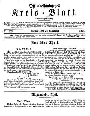 Osthavelländisches Kreisblatt vom 24.12.1851