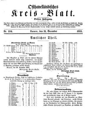 Osthavelländisches Kreisblatt vom 31.12.1851