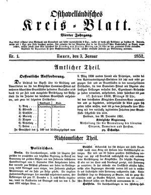 Osthavelländisches Kreisblatt vom 03.01.1852