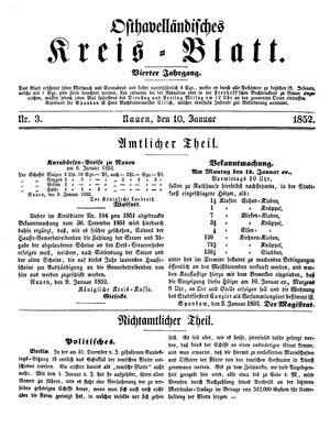 Osthavelländisches Kreisblatt vom 10.01.1852