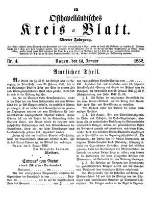 Osthavelländisches Kreisblatt on Jan 14, 1852