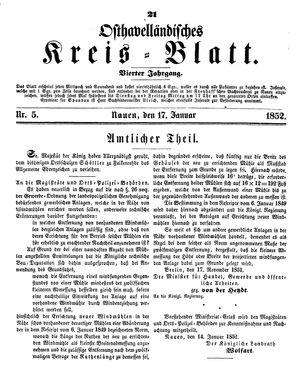 Osthavelländisches Kreisblatt vom 17.01.1852