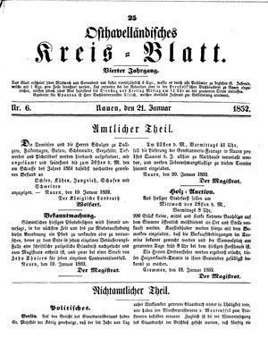 Osthavelländisches Kreisblatt on Jan 21, 1852