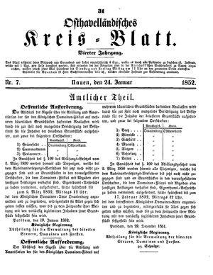 Osthavelländisches Kreisblatt vom 24.01.1852