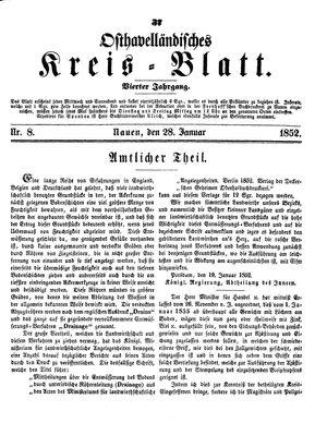 Osthavelländisches Kreisblatt vom 28.01.1852