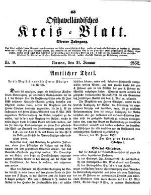 Osthavelländisches Kreisblatt vom 31.01.1852