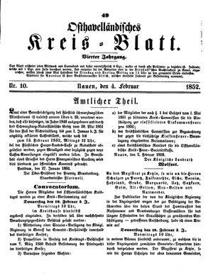 Osthavelländisches Kreisblatt vom 04.02.1852