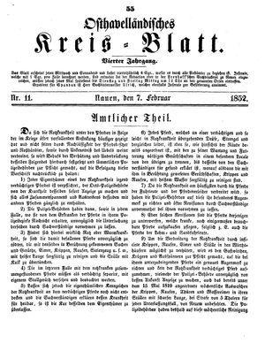 Osthavelländisches Kreisblatt vom 07.02.1852