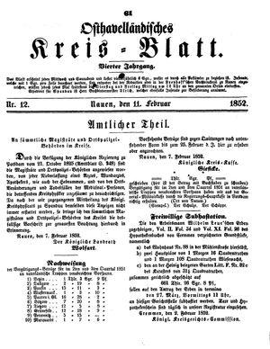 Osthavelländisches Kreisblatt vom 11.02.1852