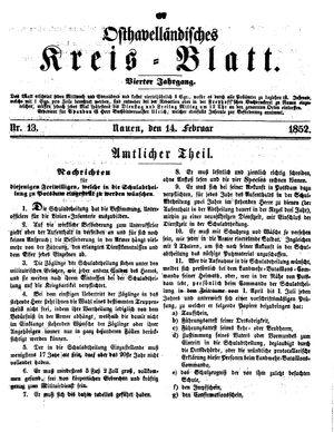 Osthavelländisches Kreisblatt vom 14.02.1852
