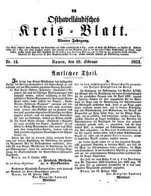 Osthavelländisches Kreisblatt vom 18.02.1852