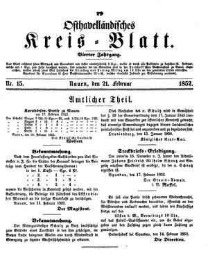 Osthavelländisches Kreisblatt vom 21.02.1852