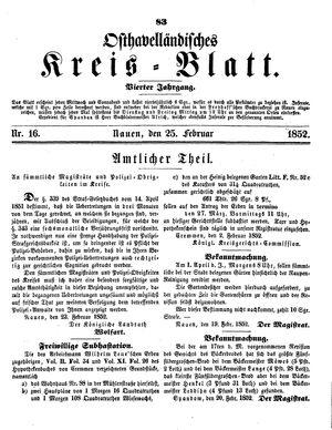 Osthavelländisches Kreisblatt vom 25.02.1852
