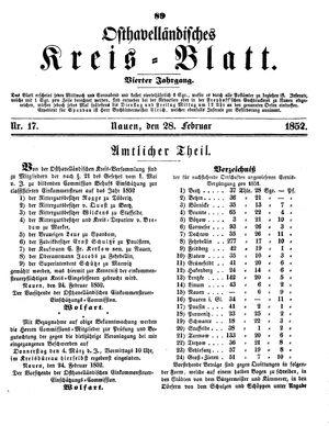 Osthavelländisches Kreisblatt vom 28.02.1852