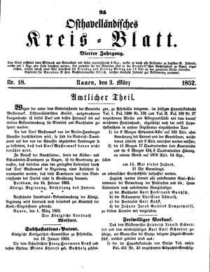 Osthavelländisches Kreisblatt on Mar 3, 1852
