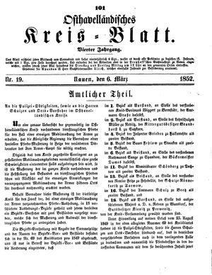 Osthavelländisches Kreisblatt vom 06.03.1852