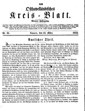Osthavelländisches Kreisblatt vom 13.03.1852