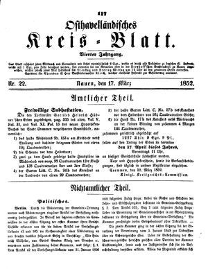 Osthavelländisches Kreisblatt vom 17.03.1852