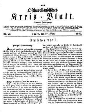 Osthavelländisches Kreisblatt vom 27.03.1852