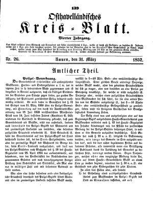 Osthavelländisches Kreisblatt on Mar 31, 1852