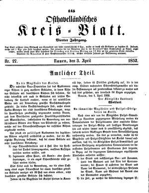 Osthavelländisches Kreisblatt vom 03.04.1852