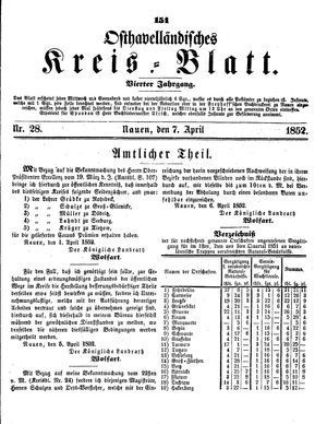 Osthavelländisches Kreisblatt vom 07.04.1852