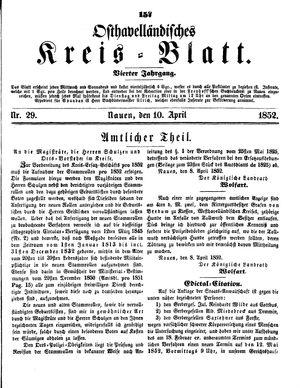 Osthavelländisches Kreisblatt vom 10.04.1852
