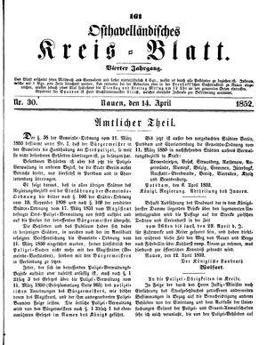 Osthavelländisches Kreisblatt on Apr 14, 1852