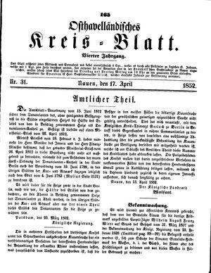 Osthavelländisches Kreisblatt on Apr 17, 1852
