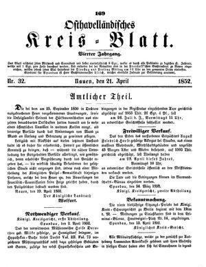 Osthavelländisches Kreisblatt vom 21.04.1852