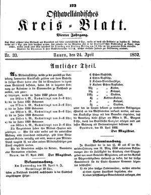 Osthavelländisches Kreisblatt vom 24.04.1852