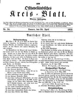 Osthavelländisches Kreisblatt vom 28.04.1852