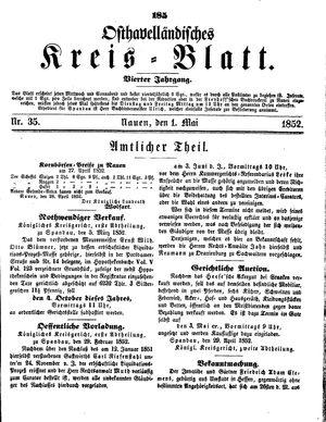 Osthavelländisches Kreisblatt vom 01.05.1852