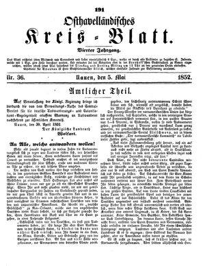 Osthavelländisches Kreisblatt vom 05.05.1852