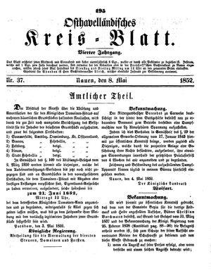 Osthavelländisches Kreisblatt on May 8, 1852