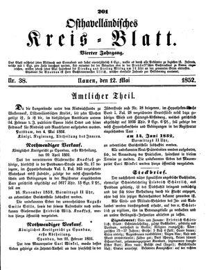Osthavelländisches Kreisblatt vom 12.05.1852