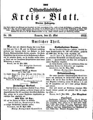 Osthavelländisches Kreisblatt vom 15.05.1852
