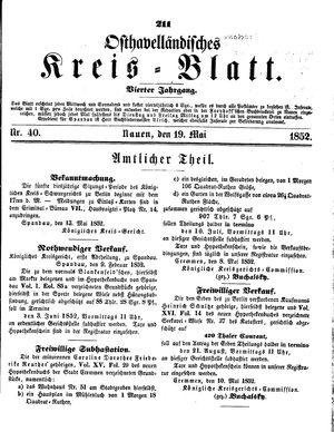 Osthavelländisches Kreisblatt vom 19.05.1852