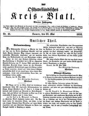 Osthavelländisches Kreisblatt vom 22.05.1852